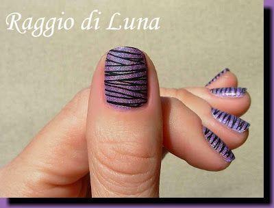 Raggio di Luna Nails: Born Pretty Store review: Stamping plate BP-67 - Black lines on holo purple