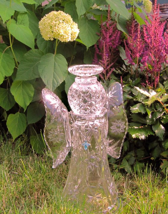 Angel glass garden angel recycled glass art upcycled for Garden ornaments from recycled materials