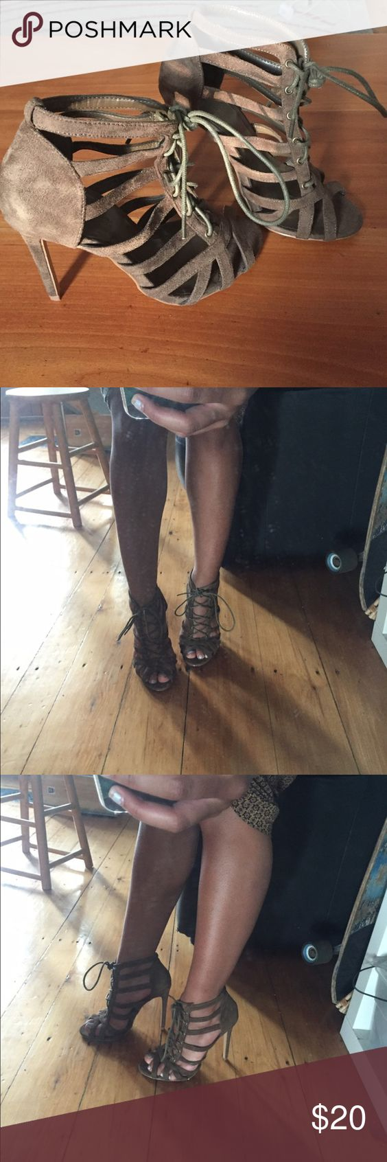 Dark green strappy laced heels These are barely worn and have a suede like material to them. They're super sexy and cute and the color is a mix between a green and a brown. Shoes Heels