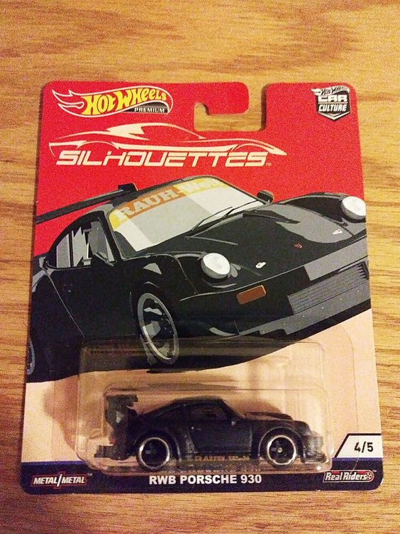 Matte Black Hot Wheels Premium Car Culture Silhouettes RWB Porsche 930