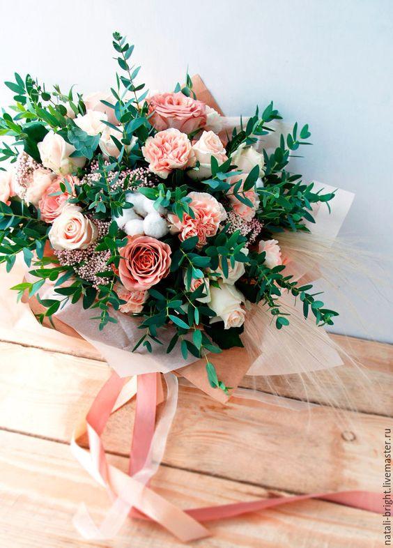 Купить Букет из живых цветов Капучино - букет из живых цветов, букет из цветов, букет из роз