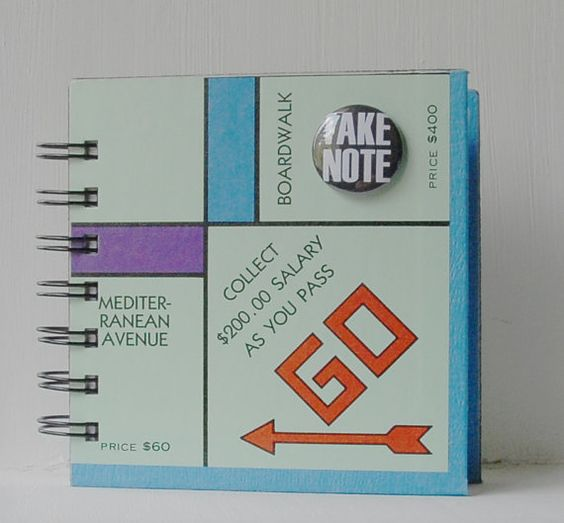 MONOPOLY Board Game Journal or Notebook with by CampfireDesigns, $ 6.00