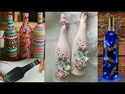 Glass Bottle Decoration Ideas Best Out Of Waste Craft Diy Home Decor Ideas Fnf Creatio Bottles Decoration Glass Bottles Decoration Wine Bottle Centerpieces