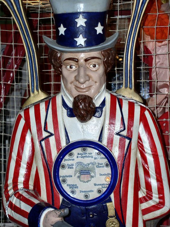 Uncle Sam at Memory Lane Arcade Frankenmuth MI.  antique arcade/amusements
