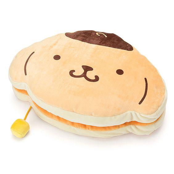 Pom Pom Purin Pillow ๑ᴖ ᴖ๑ 思わず食べちゃいたくなりそうなもっちり生地 ちょこんと付いたバターがアクセント ポムポムプリン サンリオ クッション