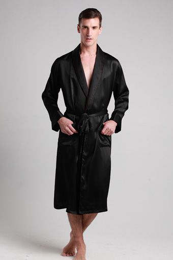 Black color 100-percent top quality silk robes for men are on sale with a big discount. $99 #robes #silk #lilysilk