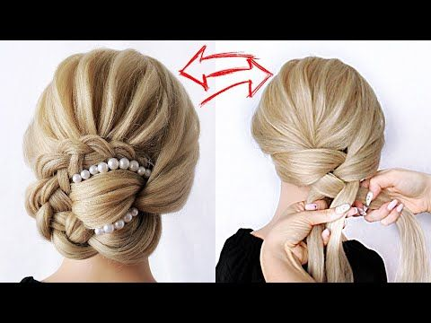 Easy Braided Updo Super Simple Perfect For Long Medium Shoulder Length In 2020 Easy Braided Updo Box Braids Hairstyles Braided Headband Hairstyle Tutorial