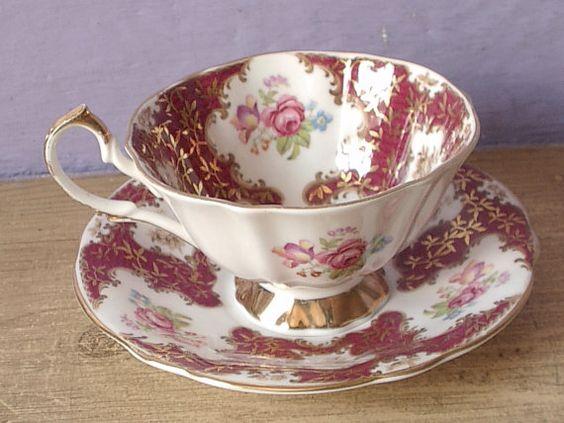 Taza de té de la Reina Ana antiguo 1950 taza de por ShoponSherman