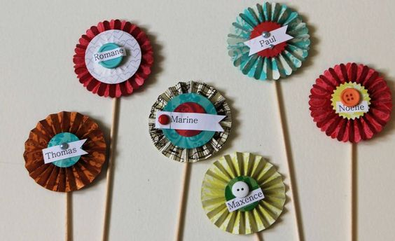 Paper rosettes for a party by Karine