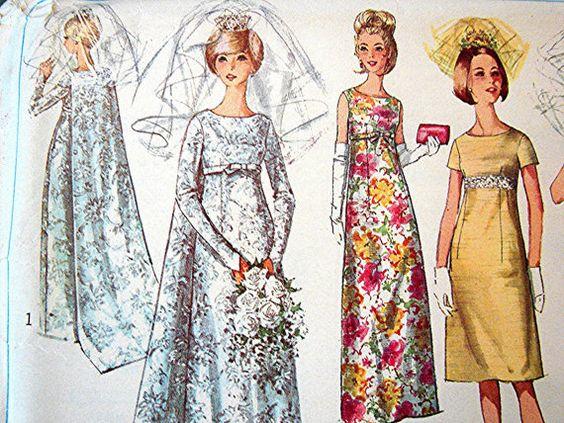 Vintage 1960s wedding dress pattern simplicity empire for Empire waist wedding dress patterns