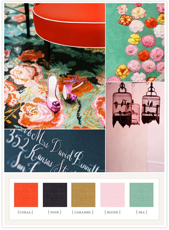 color board inspiratioon: Wedding Color, Color Palette, Colour Palette, Punchy Floral