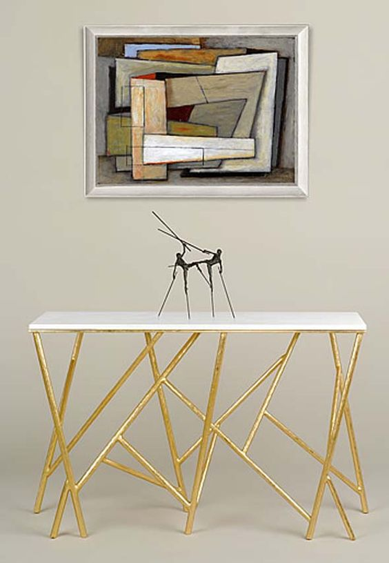 Gold console table console tables design by adam williams - Table console design ...