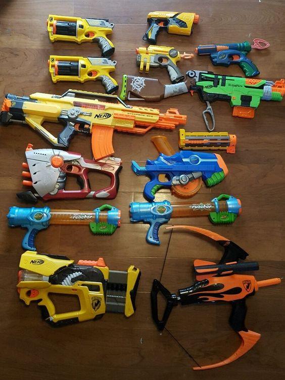 Huge Lot of 13 Nerf Guns Rifles Maverick Stampede ECS Slingfire Bow & more  in Toys