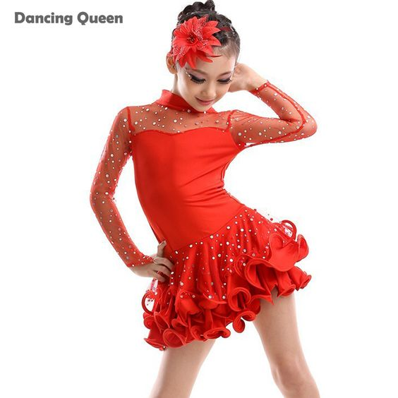 2015 New Girls Dance Costume Long Sleeve Vestido De Baile Latino Rose/Red/Black/Yellow Dance Latin Dresses Enfeites Para Quarto