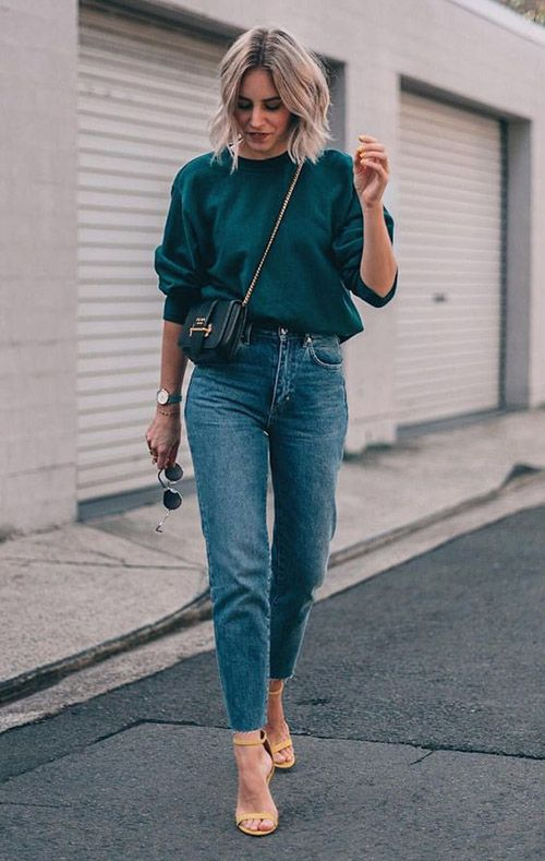 Синие однотонные джинсы и зеленый свитшот #hoody #streetstyle #streetwear #streetfashion #hoodies