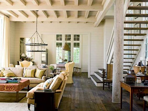I love all the combinations of wood finishes in this space | Bill Ingram's Lake Martin house from Southern Accents via Caroline Inge
