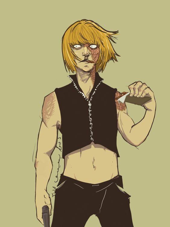 Mihael Keel. Mello. From Death Note.  Drawn by me. Photoshop. 2015.  Green, yellow, black.