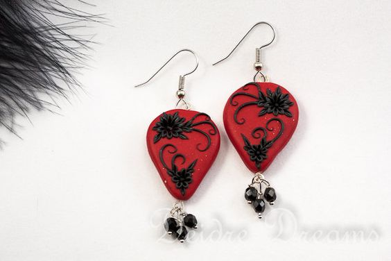 - SOLD - Goth Red Black Dangle Drop Earrings  Polymer Clay by DeidreDreams, $40.00