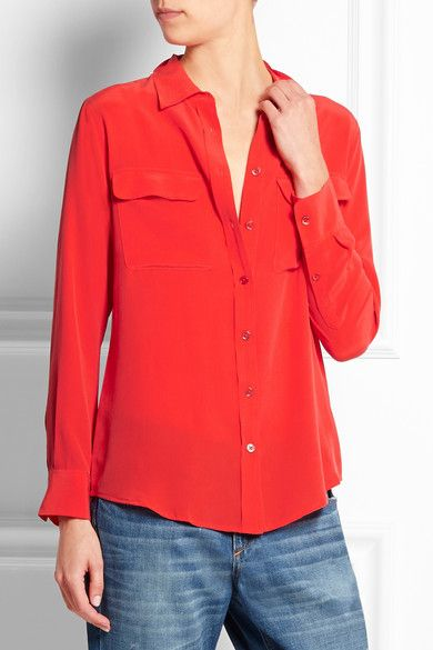 Equipment | Slim Signature washed-silk shirt in vibrant red | NET-A-PORTER.COM