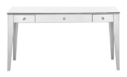 Elegant Decor Mf6 1030s 3 Drawer Rectangle Desk Silver Silver Mf6 1030s Elegant Lighting Desk Mirror Elegant Decor