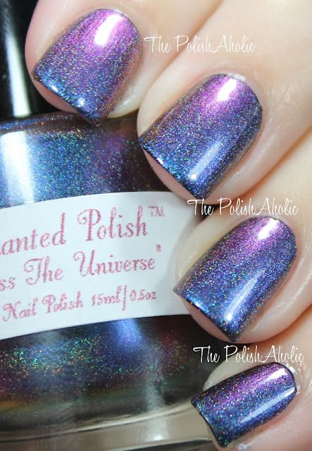 "Bluish-Galaxy purple nails by Enchanted Polish in the shade ""Across the Universe"""