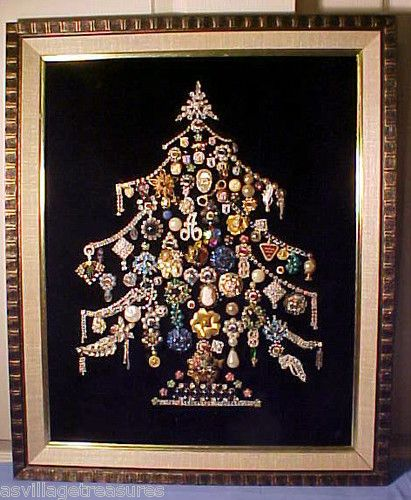 Vintage Fine Costume Jewelry Framed Lighted Christmas Tree Picture