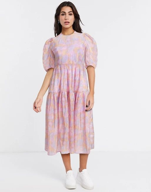 & Other Stories printed puff sleeve midi dress in pink