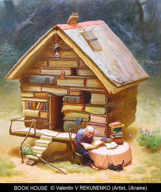 BOOK HOUSE © Valentin V REKUNENKO (Artist, Ukraine). Also saw this titled as 'Visiting Fairy Tales.'  I'd call it 'The Fairy Tale House.' House made of books. Tiny old lady reading outdoors with tiny cat. Too dang cute!