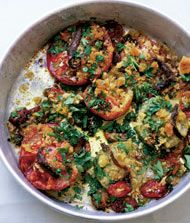 Roast Tomatoes with Crumbs and Thyme (Nigel Slater)  http://www.annabelchaffer.com/categories/Dining-Accessories/