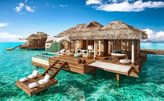 The Sandals Royal Caribbean resort...The Tahitian style accommodations will allow you get the full experience of living on the ocean. Guests can lounge around in the floating water hammocks or soak in the infinity pool all the while enjoying stunning ocean views.