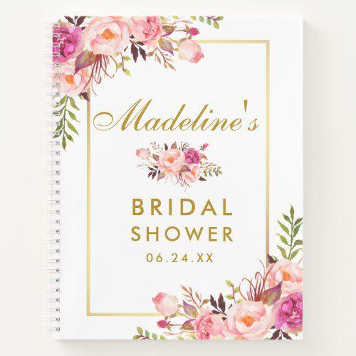 Bridal Shower Pink Blush Floral Gold Gift List Notebook Zazzle Com In 2020 Pink Bridal Shower Bridal Shower Gifts Floral Bridal Shower