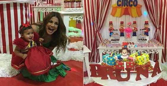 Nívea Stelmann faz festa com tema de circo para a filha, Bruna