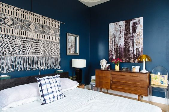 Chris & Jenny's Collective Elegance Bedroom – Navy walls + macrame wall hanging