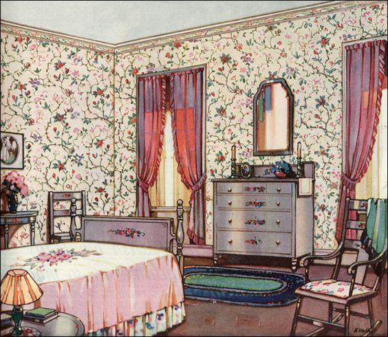 1924 Floral Bedroom - Design Inspiration from 20s: