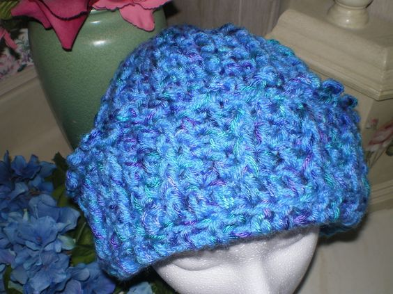 crocheted hat with adjustable brim made with two strands of yarn ...