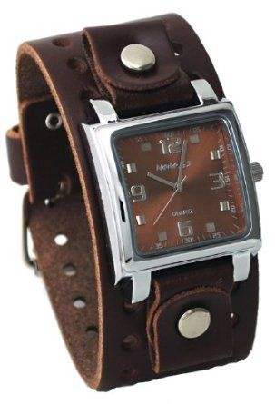 dark brown brown and watches nemesis bbb516b men s dark brown wide leather cuff band analog brown dial watch watches