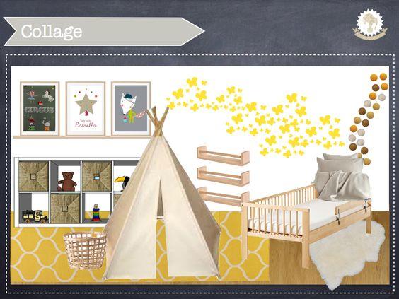 Proyecto de #decoracióninfantil para un bebé en madera, amarillo y blanco. http://kidsmopolitan.com/calido-dormitorio-de-bebe-en-amarillo-y-madera/ #nursery #kidsdeco #kidsroom #babyroom #dormitorioinfantil #cuna #vinilo #tipi