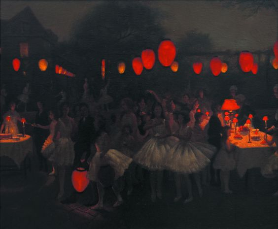 Thomas Cooper Gotch 'The Lantern Parade', 1910, oil on canvas 'Study for the Birthday Party', about 1930, oil on canvas:
