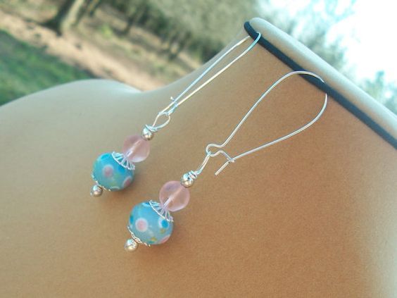 Pink and Baby Blue Lovely Earrings by BirdysNest on Etsy, $12.50