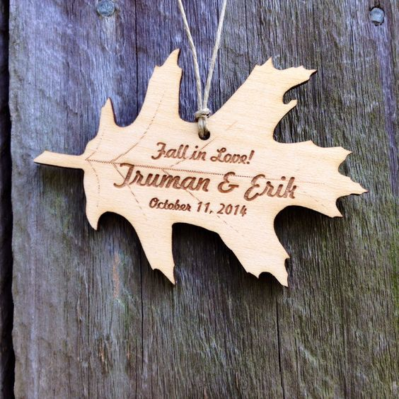 Fall in Love Personalized Ornament: Oak Leaf; Wedding/Engagement/Anniversary/Engraved/Christmas by WoodBeeLove on Etsy https://www.etsy.com/listing/198673961/fall-in-love-personalized-ornament-oak:
