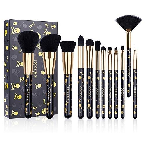 Docolor Goth Makeup Brush Set 12 Pcs Professional Makeup Brushes Face Powder Foundation Blending B Makeup Brush Set Makeup Brushes Guide Docolor Makeup Brushes