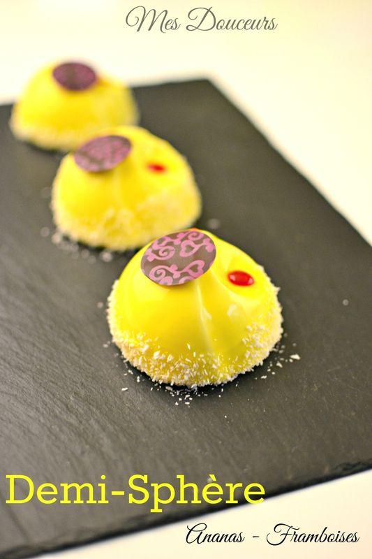 Demi-sphère Ananas insert Framboises