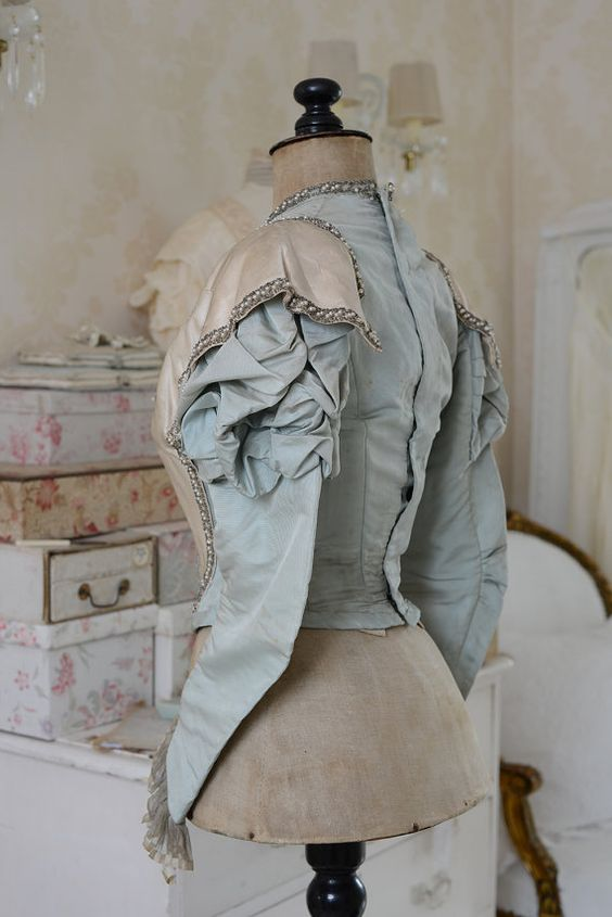Stunning antique silk French bodice by WhiteandFaded on Etsy