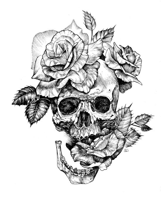 Black and White skull with roses pen drawing Art Print : Balles, Noir ...