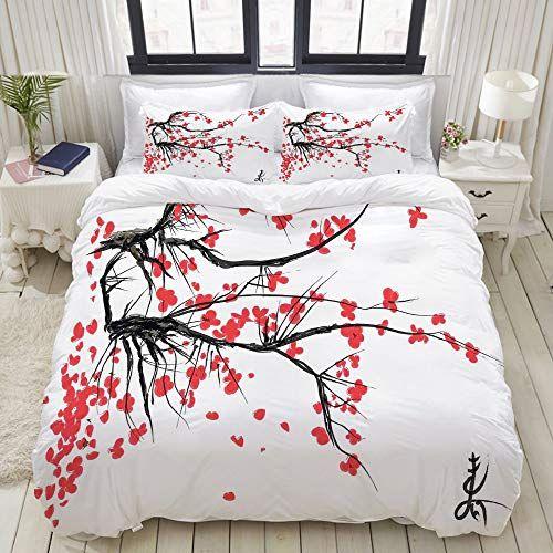 Kvmv Parure De Lit Avec Housse De Couette En Microfibresakura Blossom Jardin De Cerisiers Japonais S Chambre A Coucher Contemporaine Parure De Lit Deco Chambre