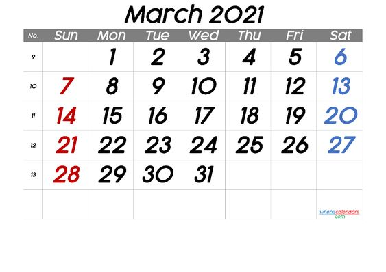 free printable march 2021 calendar with holidays