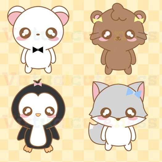 Kawaii Arctic Animal Clipart , Cute, Chibi Animals, Zoo Clipart, Kawaii, Penguin
