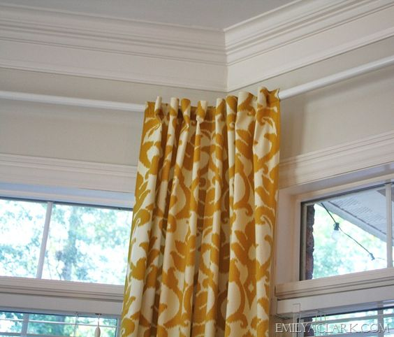 Curtain Rods Bay Window Curtain Rod And Hanging Curtains On Pinterest