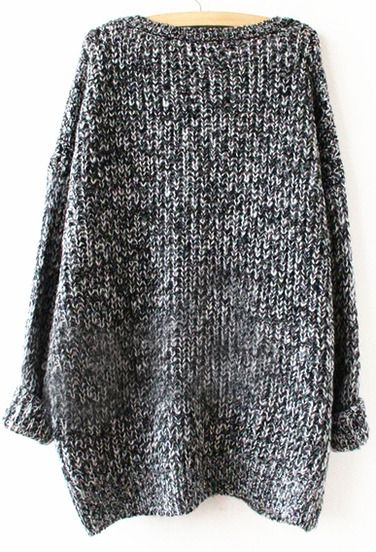Grey Long Sleeve Loose Sweater -SheIn(Sheinside) Mobile Site