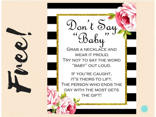 Free Black Stripes Dont Say Baby Necklace Game Printabell Free Baby Shower Printables Baby Necklace Baby Shower Quotes